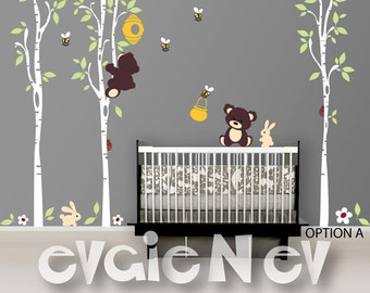 Wall Decals Nursery - Teddy Bears with Honey Pot Wall Decals - Honey Jar, Bee Hive, Bumble Bees, Trees and Bunnies -  PLTBRS040