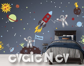 Outer Space Explorer Wall Decals - Astronauts and Aliens, Rocket, Planets - Children Wall Stickers - PLOS040