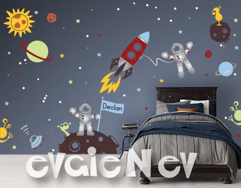 Outer Space Explorer Wall Decals  Astronauts and Aliens image 0