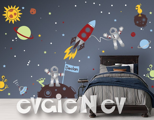 Custom flag name outer space wall decals with astronauts for Wall decor outer space