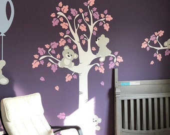 Girls Wall Decals - Teddy Bears Decals -  Baby Nursery Wall Stickers -  PLTBRS030