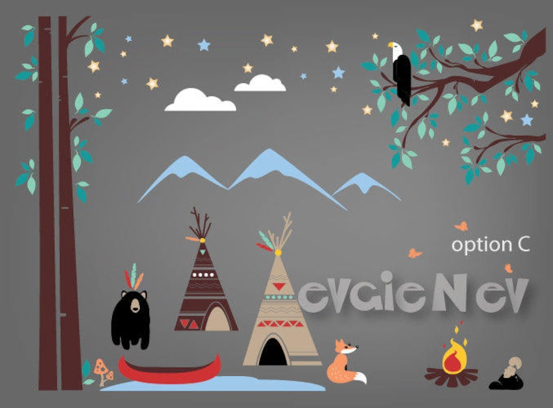 First Nations TeePee Camp with Canoe Campfire Eagle Black image 0