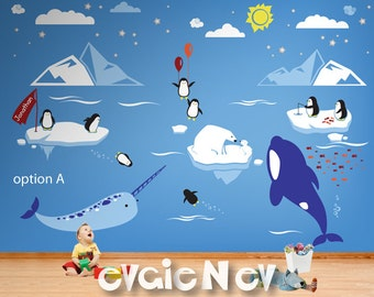 Children Wall Decals - Arctic and Antarctic Animals and Polar Friends - Penguin, Bear Cubs, Orca Whale, Narwhal - PLRFR010