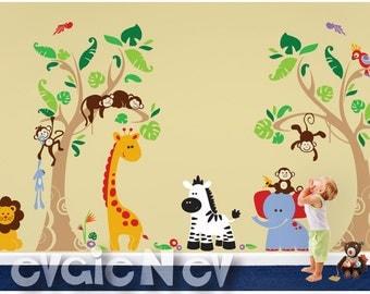 Jungle Wall Decals - Safari Wall Stickers - Wall Decals Kid - Tropical Large Wall Stickers - PLJN060