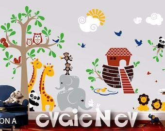 Wall Decals for Nursery - Giant Noah's Ark Wall Decals - Bible Nursery Decor, Religious Wall Art - PLNA040