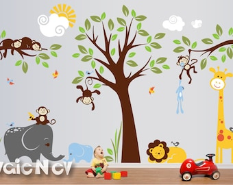 Charming King of the Jungle - Baby Nursery Wall Decals with Lion, Giraffe Elephants and Monkeys - PLMG050
