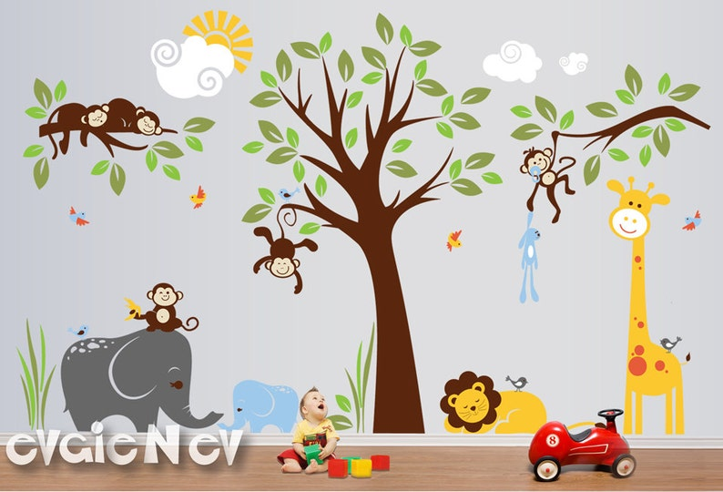 6e88061d6a7 Jungle Safari Wall Decals Baby Wall Decals Nursery Wall