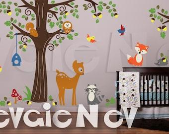 Nursery Wall Sticker - Forest Animals Friends Wall Decals - Fox, Deer, Bear and Raccoon Wall Decals - PLFR050