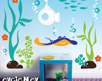 Underwater Wall Decals Fish Wall Sticker - Underwater Theme with Ray, Submarine, Seaweed and Fish Wall Stickers - PLUW010R