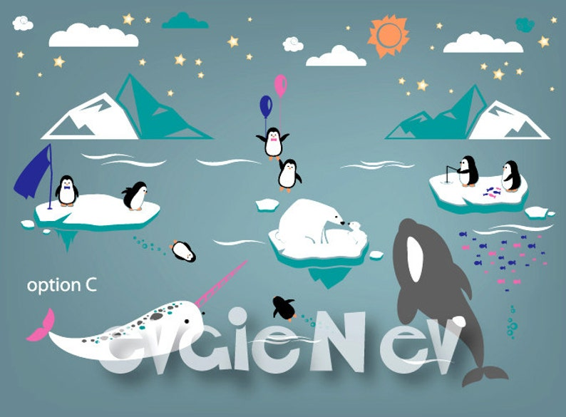 Nursery Wall Stickers  Penguin Bear Cubs Orca Whale image 0