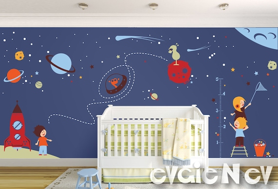 space wall decals nursery boy space wall stickers with | etsy