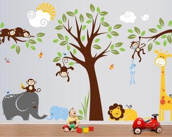 Jungle Safari Wall Decals, Baby Wall Decals, Nursery Wall Decals, Kids Wall Decals, Children Wall Decals - PLMG050