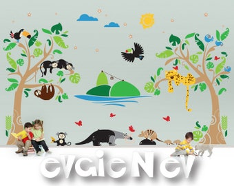 Monkeys, Jaguar, Armadillo, Blue Macaw and Anteater - Children Nursery Wall Decals - Animals of South America  - PLSA060