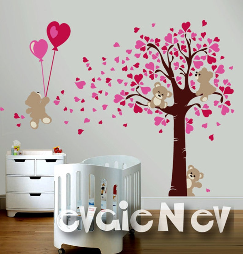 Wall Decals for Girl  Teddy Bears LOVE Wall Decals  Hearts image 0