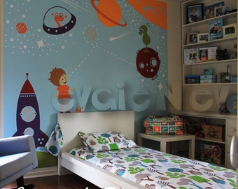 Outer Space Wall Decals, Boys Wall Decals, Space Wall Stickers, Children Wall Decals, Kids Wall Decals, Planets Wall Decals - PLOS010R