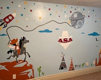 Western Wall Decals  - Space Rangers, Cowboys and Aliens - PLS020