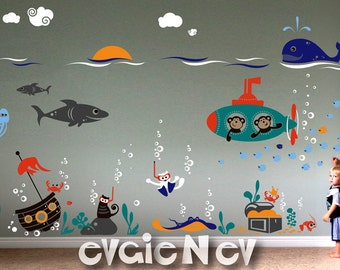 Ocean Friends Wall Decals - Sea Nature Wall Stickers - Cats Scuba Divers with Submarine Monkeys - PLUW050