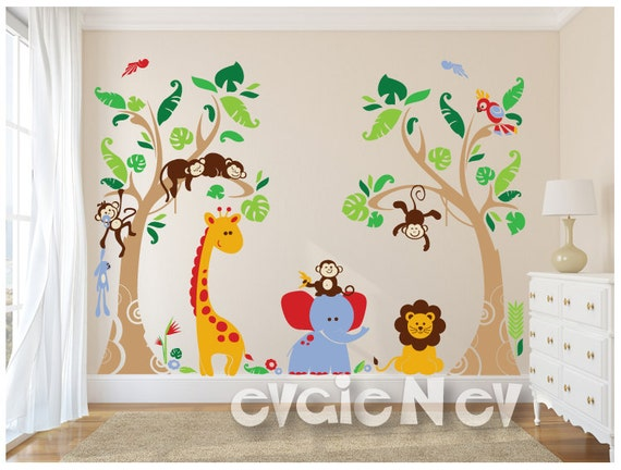f6297da6027 Tropical Nursery Wall Decals with Exotic Rain-forests and