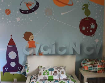 Kids Space Wall Decals with Space Walkers and Aliens - Wall Stickers for Kids and Planets Wall Decals - PLOS010R