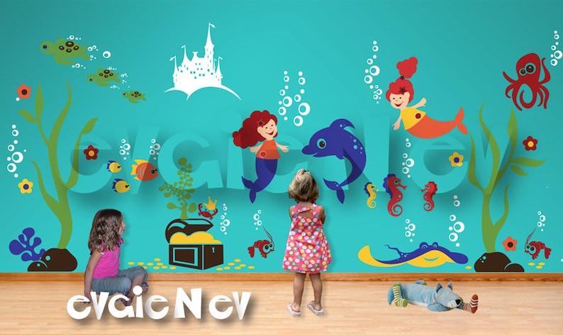 Under the Sea Nursery Wall Decals  Mermaids Underwater image 1