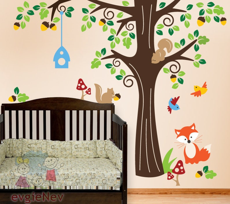 Nursery Wall Art Animals In The Wood Wall Stickers Nursery Wall Decals For Kids Vinyl Decals Plfr010l