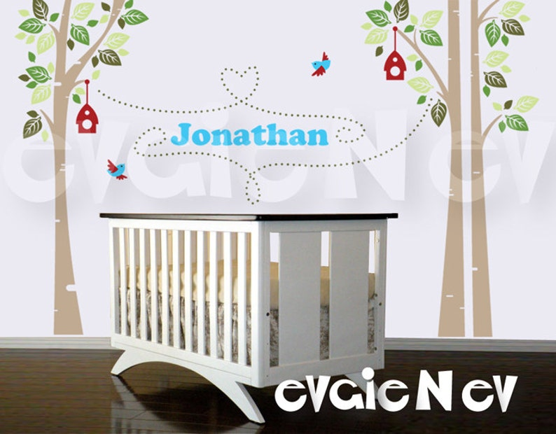 Children Wall Decal Wall Sticker  Custom Name Birch Trees image 0