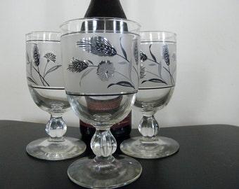 Vintage Libbey Silver Leaf Silver Rim Wine Glass Set 8 Home Decor New Orleans Vintage Shop Holiday Retro Vintage