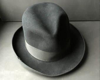 40e8645dc95c8 Antique Black Wool Felt Fedora Trilby Hat Wide Brim Leather Art Deco France  1930s Small Medium