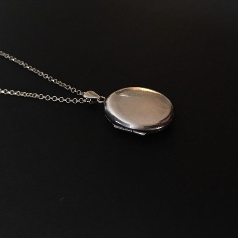 Antique Sterling Silver Locket Art Deco Long Chain Necklace Jewelry Plain Smooth 1920s