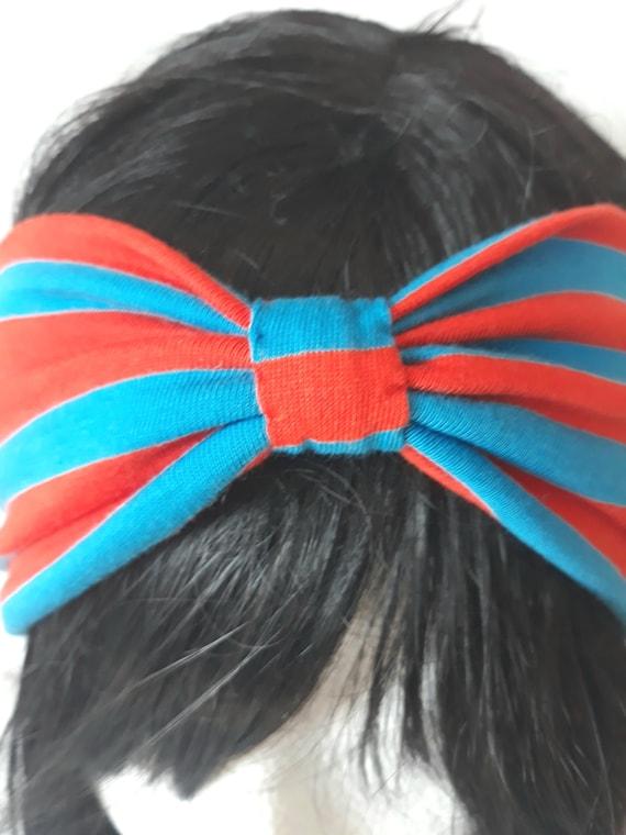 Bandeau Jersey Bleu/Orange à rayures