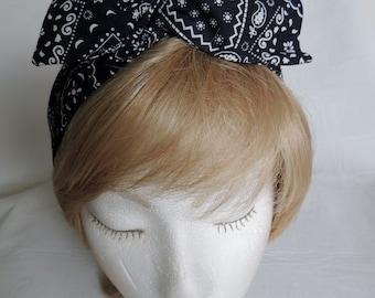 Black Kerchief Print Wire Headband 965811ddb760