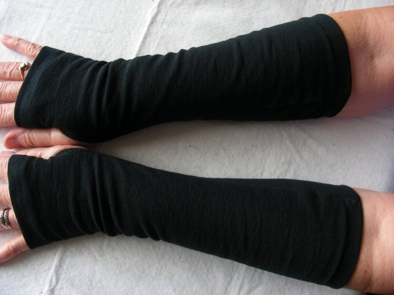 Black Jersey Knit Fingerless Gloves Arm Warmers Texting image 0
