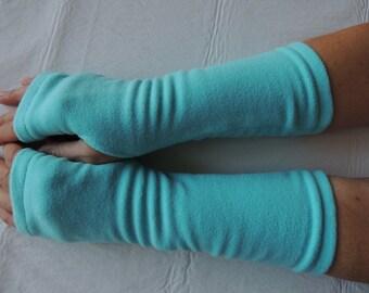 Light Turquoise Fleece Fingerless Gloves, Fleece Arm Warmers, Texting Gloves, Driving Gloves, Hand Warmer, Mitts, Gloves