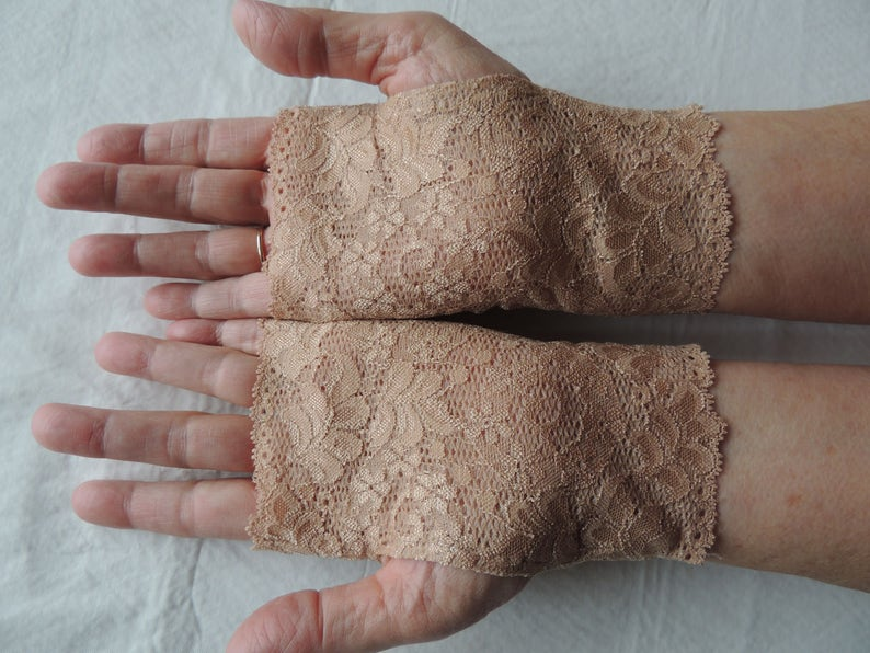 Lace Fingerless Gloves - Nude Beige - Wedding Belly Dance