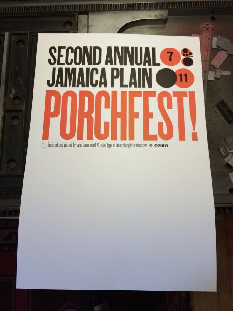 Letterpress Poster  Jamaica Plain PorchFest 2015 image 0
