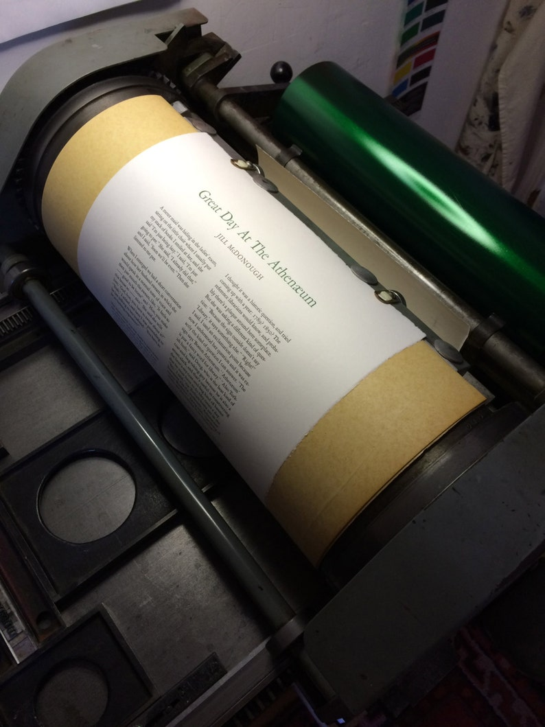 Letterpress Broadside Great Day At The Athen\u00e6um