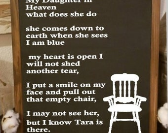 photo relating to Missing Man Table Poem Printable named Vacant chair poem Etsy