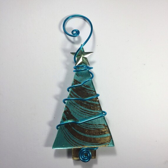 Turquoise And White Christmas Tree: Turquoise And Gold Foil Christmas Tree With Rhinestone