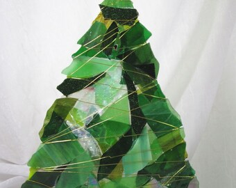 Glass Christmas Tree Votive in Green