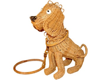 Vintage Wicker Handbag, Dog, Wicker Figural Bag, Highly Collectible, Rare, Vintage 1950s