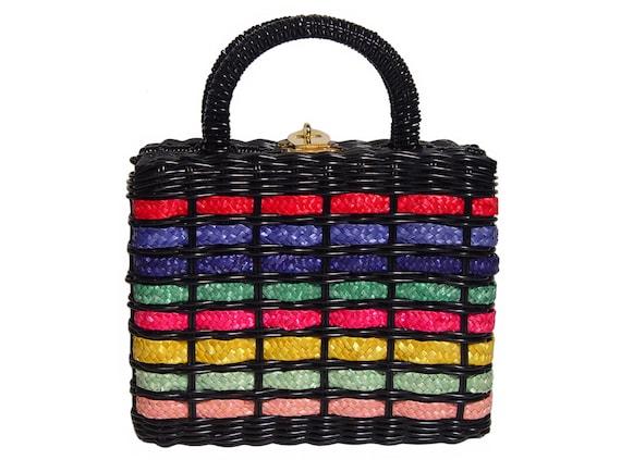 Vintage Wicker Handbag, Black With Rainbow Stripes