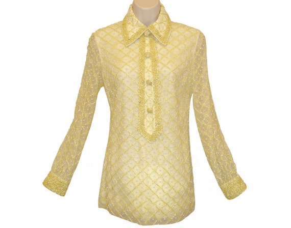 Valentina Beaded Tunic, Shirt, Rhinestones, Vintag