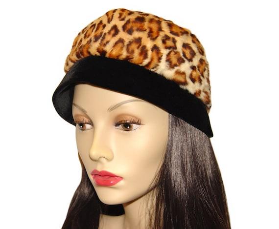 Vintage Leopard Hat, Faux Fur, Black Velvet, 1960s