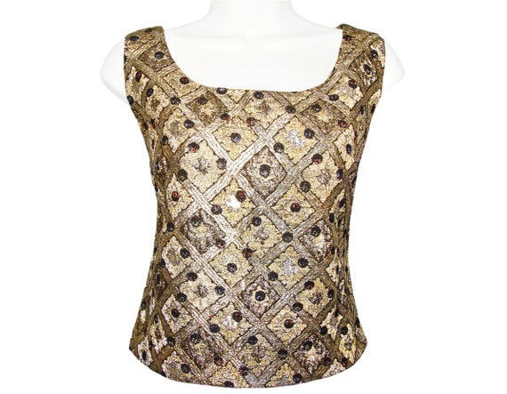 Vintage Tank Top, Shell, Metallic Gold And Silver