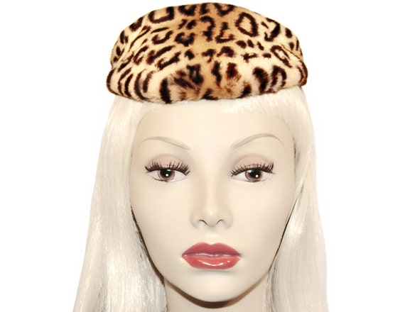 Vintage Leopard Hat, New York Creations, Pinup, Ti
