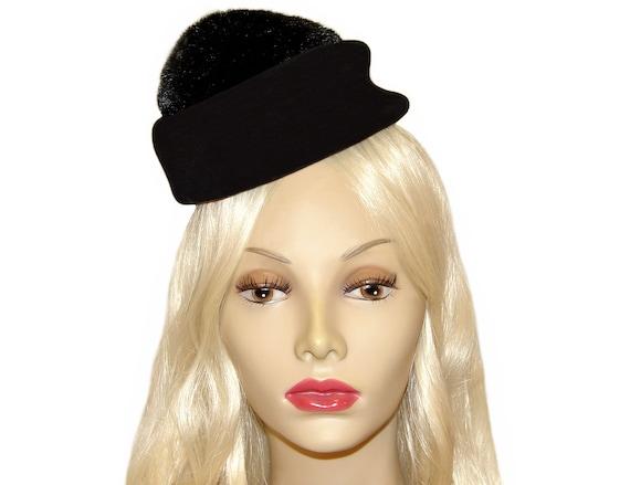 Lilly Dache Hat, Black, Pom Pom, Pillbox, Fascinat