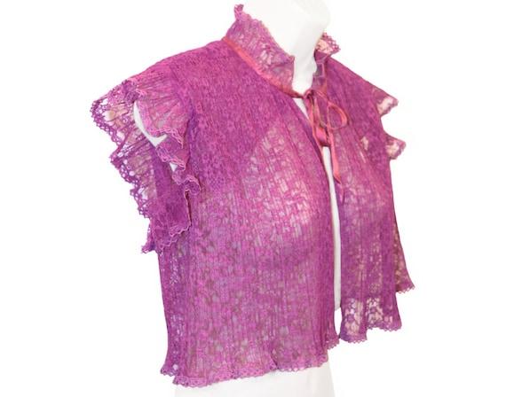 Vintage Bolero Jacket, Bed Jacket, Rosy Violet Lac