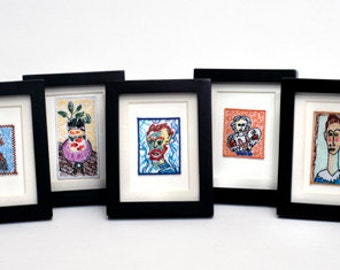 Colorful, whimsical, FRAMED mini masterpieces, by Maggie Stern