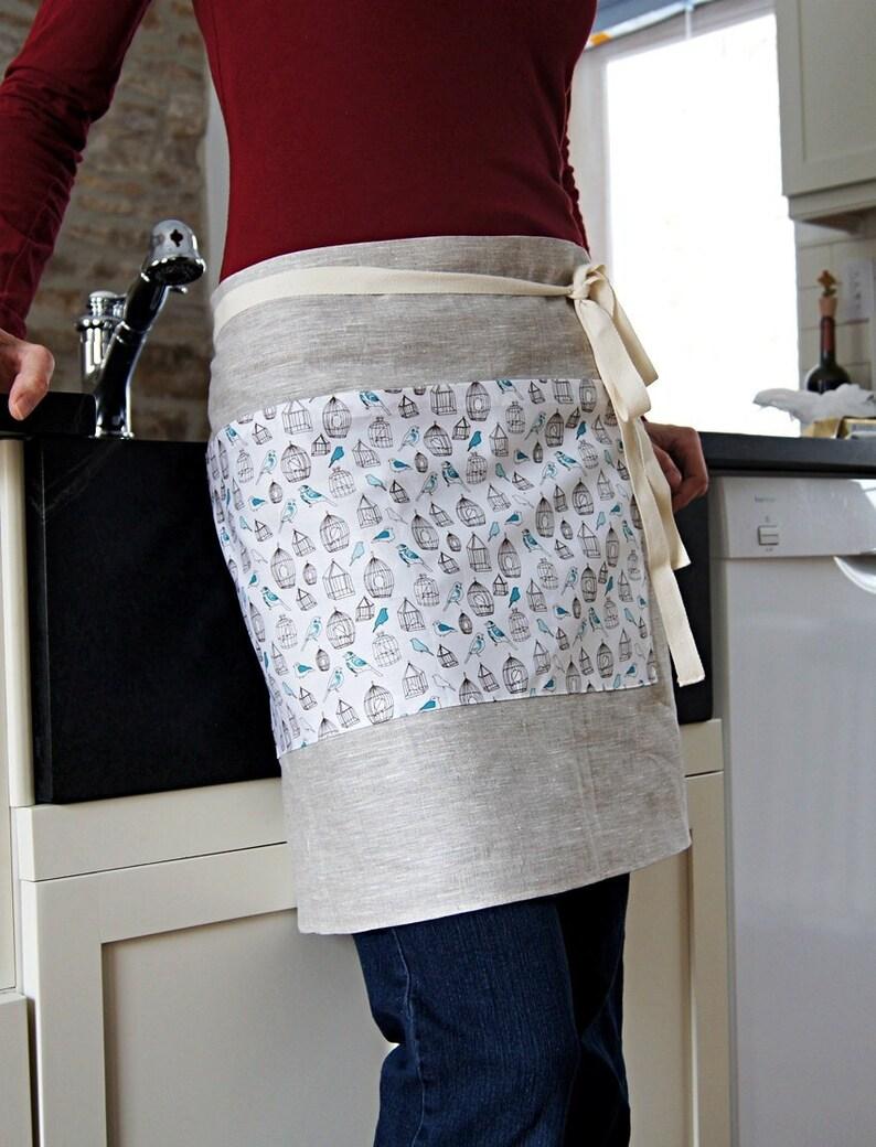 Organic Linen Apron Half Apron Bird Cotton Pocket Design Natural Linen Ready To Ship
