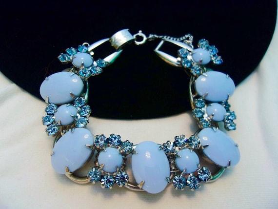 DE Juliana Couture High End Vintage Pale Blue Milk Glass Cabochon /& Blue Rhinestone Silver Plate Cuff Bracelet